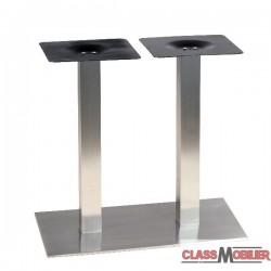 Pied de table pour table de 4 personnes en inox brossé ultra plat