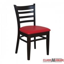 Chaise bistro en bois assise tapissée rouge