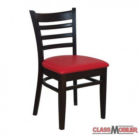 Chaise Bistro En Bois Assise Tapissee Rouge