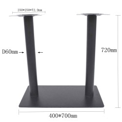 Pied de table pour plateau rectangulaire en acier noir ultra plat