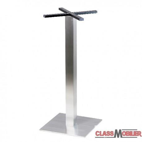Pied de table haute mange debout en inox brossé base carrée