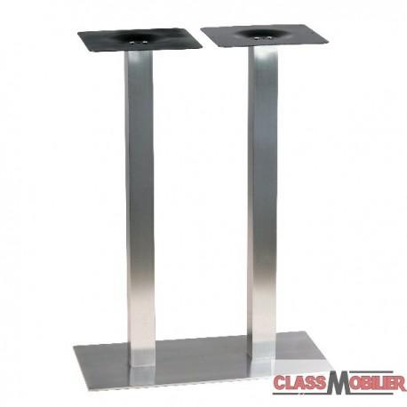 Piètement de table haute en inox brossé ultra plat pour 4 personnes
